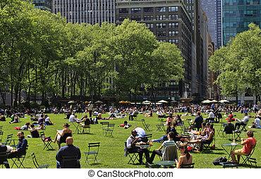 すてきである, 日, 人々, 公園, ブライアント, 楽しむ