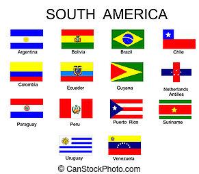 すべて, アメリカ, 旗, 国, 南, リスト
