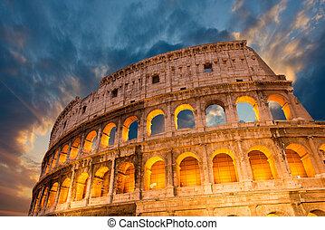 すべて, イタリア, magnificience, -, 秋, ローマ, 日没, すばらしい, colosseum, ∥そ∥, 光景