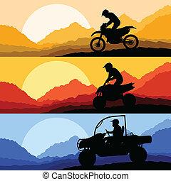 すべて, バギー, 地勢, 砂丘, モーターバイク, クォード, 車, illust, ライダー