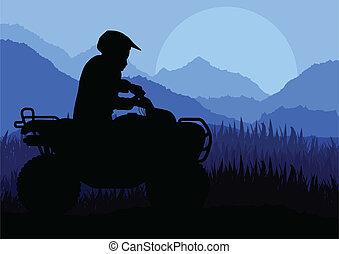 すべて, モーターバイク, 地勢, 背景, 車, クォード, ライダー