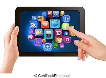 ∥それ∥, スクリーン, icons., 手, pc, 感動的である, ベクトル, パッド, 指, 保有物, 感触