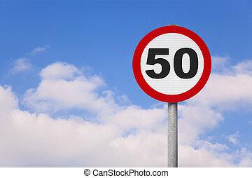 それ, roadsign, 50, ラウンド, 数