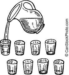 たたきつける, 水差し, 水 ガラス, バージョン, 黒, 白, ガラス