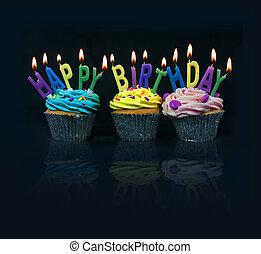 つづり, cupcakes, から, birthday, 幸せ