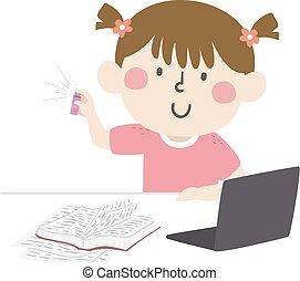 におい, 勉強しなさい, 香水, 女の子, 刻み目, 子供