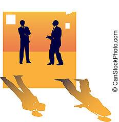 について, ビジネス 人々, 2, 話し, 仕事, lose., シルエット