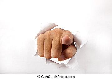 によって, ペーパー, 指, 壊れなさい, 指すこと, 手, あなた, 白