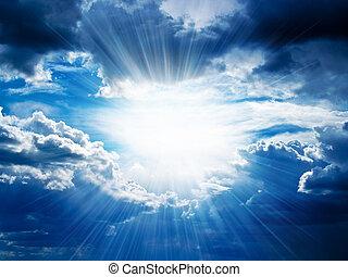 によって, 壊れる, 光線, 雲, 日光