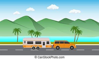 によって, 自動車, 美しい, caravan., 道, 旅行