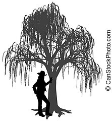 に対して, 泣く, 若い, 傾倒, 女, 帽子, ヤナギの木