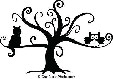 ねこ, 夜, 木, ハロウィーン, フクロウ
