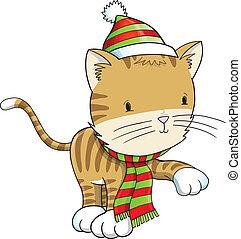 ねこ, 子ネコ, 冬 休日, ベクトル