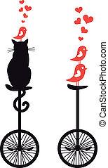 ねこ, 自転車, ベクトル, 鳥