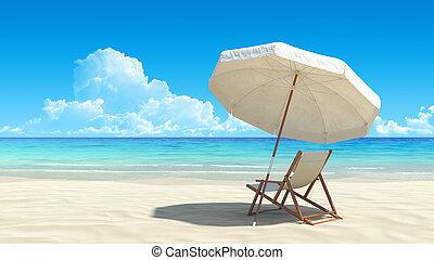 のどかな, 傘, トロピカル, 砂, 椅子, 浜