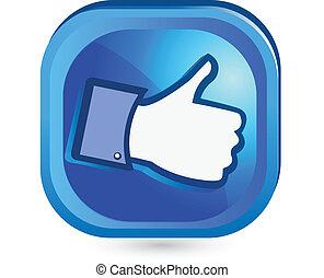 のように, ボタン, それ, の上, facebook, 親指