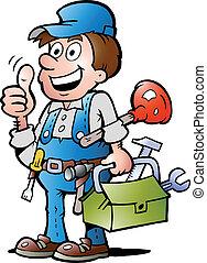 の上, handyman, 親指, 配管工, 寄付