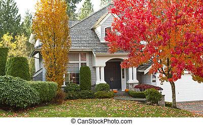 の間, 住宅の, 季節, 秋, 家