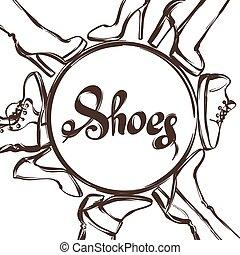 はき物, 小剣, shoes., かかと, ブーツ, 女性手, 背景, 引かれる, イラスト