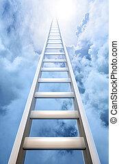 はしご, 空, 成功, 手を伸ばす