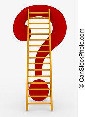 はしご, 質問, 上, 赤, 印