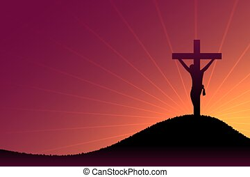 はりつけ, 夕闇, キリスト, 現場, 光線, 太陽, イエス・キリスト