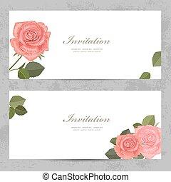 ばら, デザイン, 招待, カード, きちんとしている, 美しい, あなたの