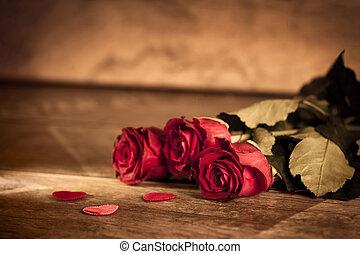 ばら, 木, 日, 赤, バレンタイン