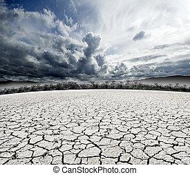 ひび割れた地面, 超現実的, 曇り, dream-scape