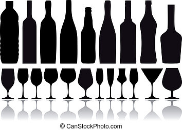 びん, ベクトル, ガラス, ワイン