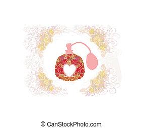 びん, 香水, 作られた, 花, pattern., 美しい