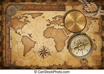 ふた, 古い, 宝物地図, ロープ, 定規, コンパス, 真ちゅう, 年を取った