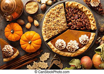 ぼろぼろに崩れなさい, カボチャ, アップル, pecan, 伝統的である, 秋, パイ