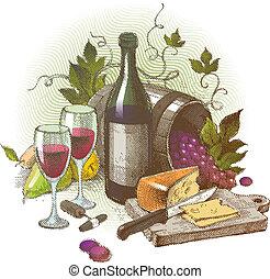 まだ, 型, 生活, ベクトル, ワイン