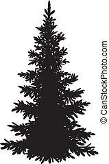 もみの 木, シルエット, クリスマス