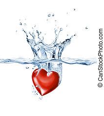 ゆとり, 照ること, はねかけること, 心, water.