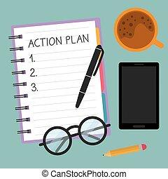 らせん状に動きなさい, イラスト, ノート, 行動, 計画, ベクトル, -, 書かれた