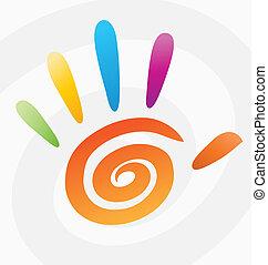 らせん状に動きなさい, 抽象的, ベクトル, 有色人種, 手
