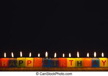 ろうそくに火をつけた, birthday, 幸せ