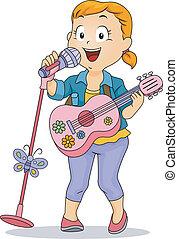 わずかしか, おもちゃ, 実行, マイクロフォン, ギター, 使うこと, 女の子, 子供
