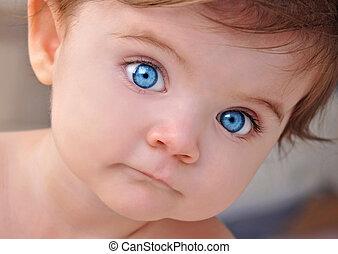 わずかしか, クローズアップ, 目, 青, 赤ん坊, かわいい, 肖像画