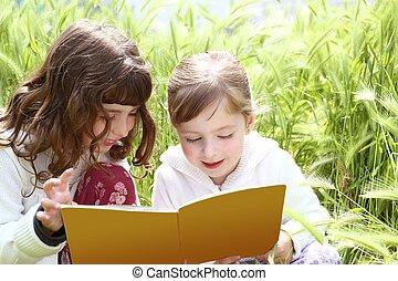わずかしか, スパイク, 庭, 女の子, 姉妹, 牽引, 本, 読書