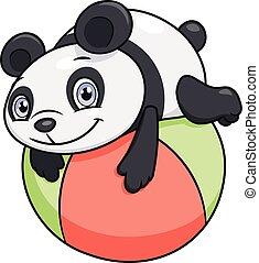 わずかしか, ボール, パンダ, 遊び