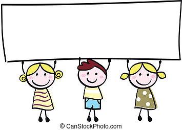 わずかしか, 保有物, 旗, 幸せ, 空, かわいい, -, 男の子, 女の子, ブランク, 漫画, illustration.