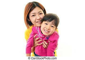 わずかしか, 幸せ, アジアの少女, 母