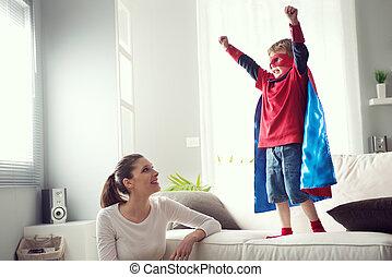 わずかしか, 彼の, superhero, 母