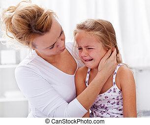わずかしか, 慰めとなる, 彼女, 叫ぶこと, 母, 女の子