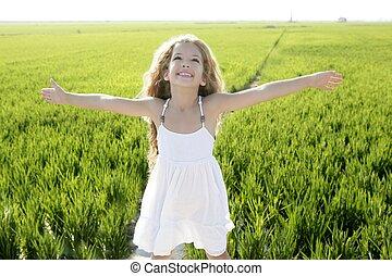 わずかしか, 牧草地, 腕, フィールド, 緑, 女の子, 開いた, 幸せ