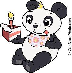 わずかしか, 食べること, birthday, 2, ケーキ, パンダ