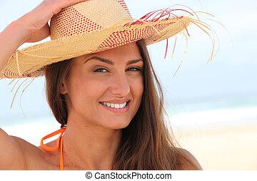 わら帽子, 女, 浜